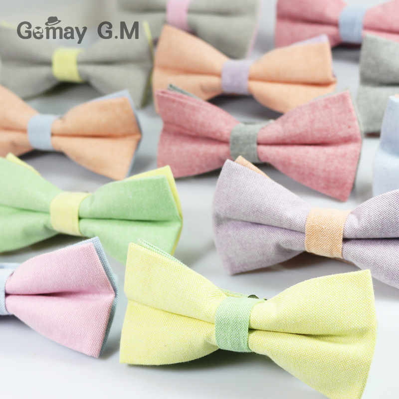 Fashion Business Suit Bowties for Men Classic Solid Color Mens Bow Ties Neckwear For Party Unisex Cotton Vestidos Bowtie Cravat(China (Mainland))