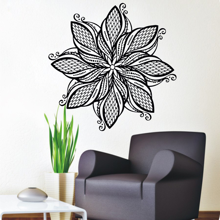 Mandala flower wall stickers art vinyl self adhesive home decor mandala flower wall stickers art vinyl self adhesive home decor indian religious pattern wall murals for amipublicfo Image collections