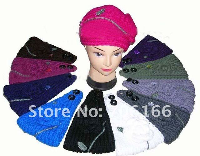 MIXED Handmade Knit Crochet  Ear Warmer Headband+ with Crochet Flower and Beads/ High Quality +EMS/DHL free shipping