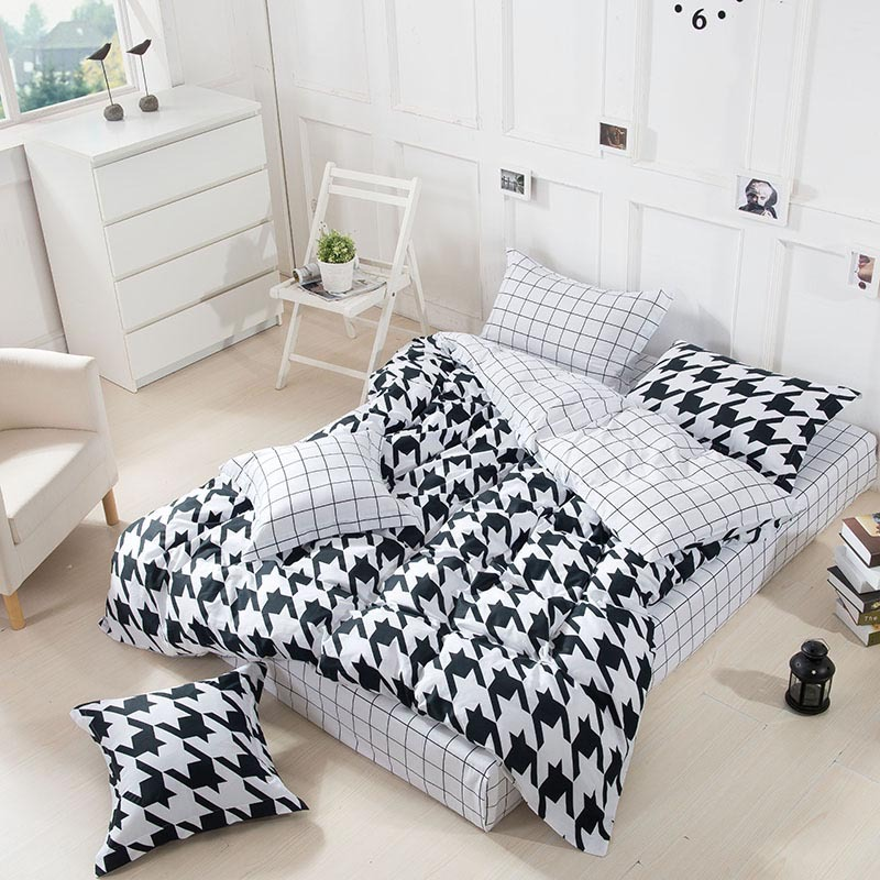 Classic black and white star bedding set 4pcs 100 cotton queen size bed set duvet cover bedspread bed sheet pillowcase bed linen(China (Mainland))