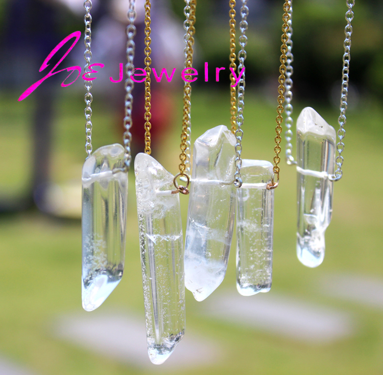 DIY hot Artilady Rose Amethyst quartz crystal pendants necklaces healing natural stone white crystal necklace women fine jewelry(China (Mainland))