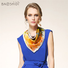 [BAOSHIDI]100% Silk Satin 66*66 Square Small Scarf , Fashion Neckerchief, Luxury Brand original design scarves for elegant lady(China (Mainland))