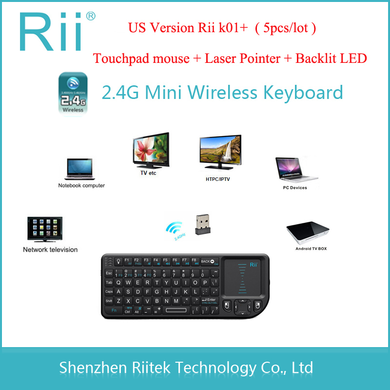 Free shipping Rii mini K01+ 2.4G Wireless Keyboard Touchpad mouse Laser Pointer Backlit LED Combo Teclado sem fio for PC Tablet(China (Mainland))