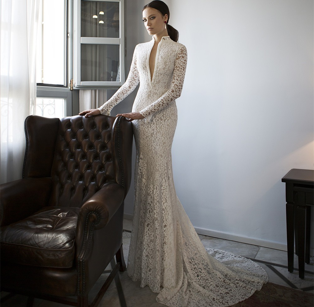 Fantastic Lace Mermaid Wedding Dresses 2016 Long Sleeves Court Train Sexy Bride Dresses With Button Back Vestido longo(China (Mainland))