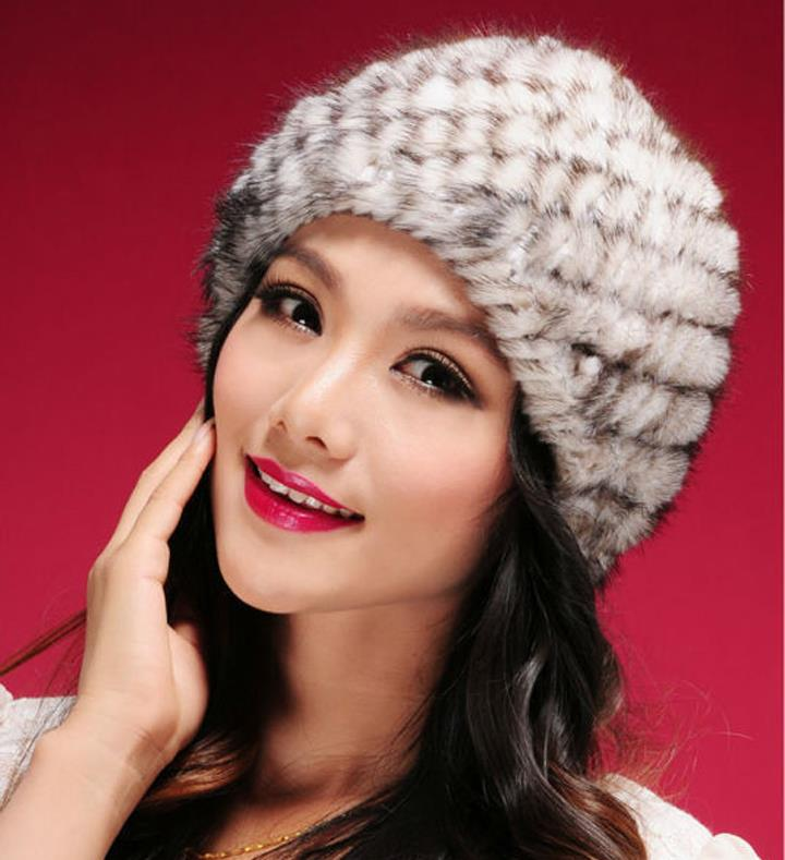 Free Shipping Genuine Mink Hat Knitted Mink Fur Hats Women Elastic Fur Beanies Winter YC069 Hot Sales(China (Mainland))