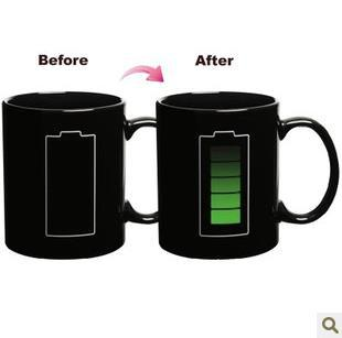Free shipping 48pcs/lot Battery Color Changing Mug Cup Amazing Ceramic Cup Temperature Changing(China (Mainland))