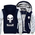 The Punisher New winter coats hoodie jackets light Anime Hooded Zipper men thick cardigan Free shipping