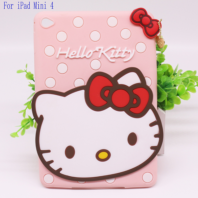 New 3D Cute Hello kitty Soft silicone Rubber Cases Cover For Apple ipad mini 4 Case For Ipad mini4