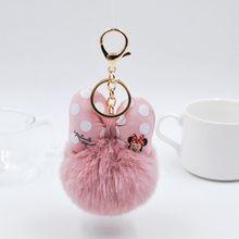 2019 Bola de Pêlo de Coelho Fofo Mickey Keychain Para Mulheres Pompom Pele De Coelho Bowknot Saco do Anel Chave Chave Do Carro Titular de Jóias presente de casamento(China)
