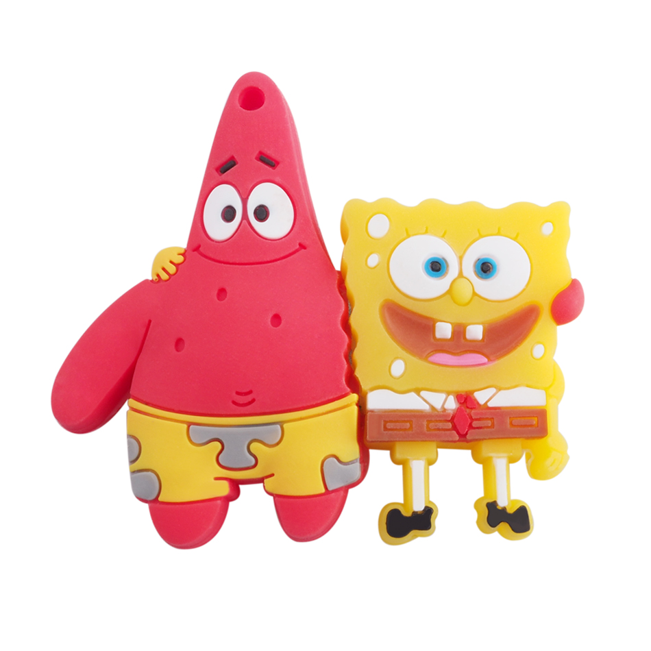 Cartoon Sponge Rubber USB Flash Drives USB 2.0 External Storage Pen drive 64GB 32GB 16GB 8GB Memory Card Stick Creativo pendrive(China (Mainland))