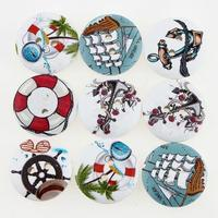 100pcs Navigation Wooden Buttons Sewing Buttons Craft Scrapbooking Clothing Accessories 2 holes 111796