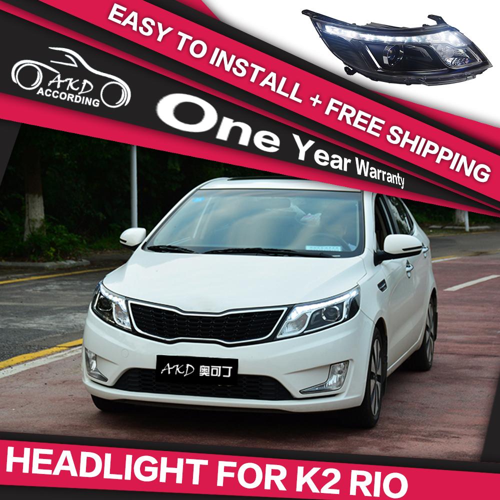 AKD Car Styling Head Lamp for KIA K2 Rio 2012-2014 LED Headlight DRL Daytime Running Light Bi-Xenon Lens HID Accessories(China (Mainland))