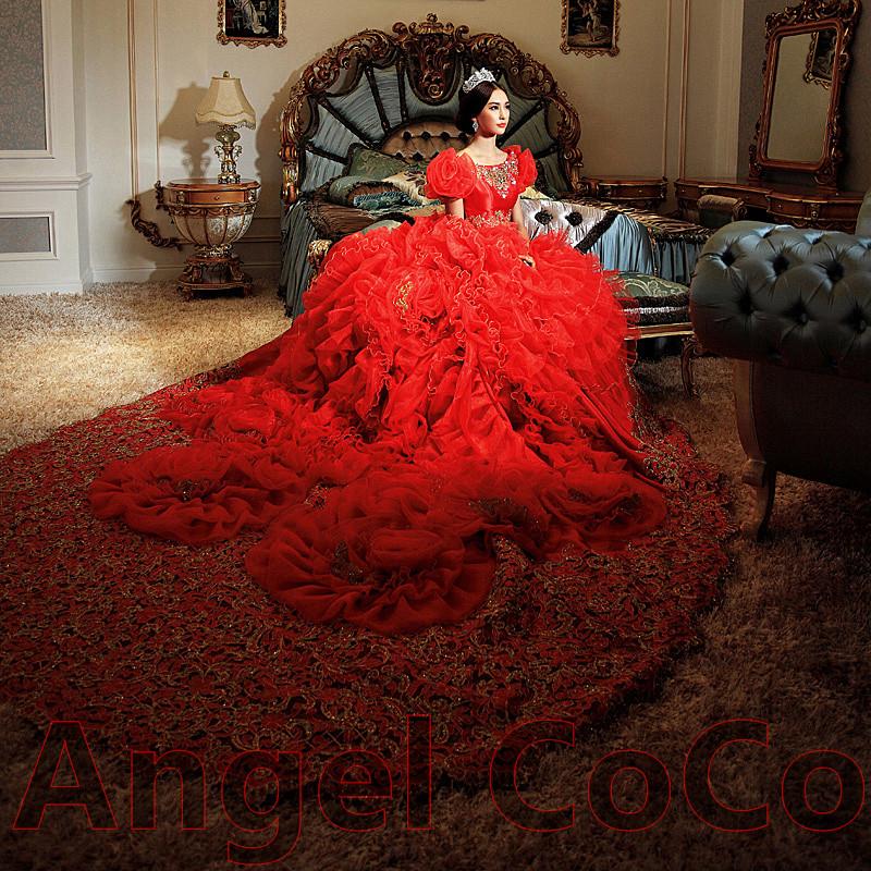 de luxe doux tulle hand made fleur arabie saoudite duba style robes de marie turquie royal - Ruban Rouge Mariage Turc