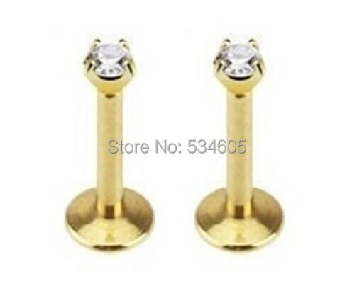 "2pcs Gold Labret Lip Ring Titanium Anodized Internally Threaded Prong Top Gem Labret Monroe 16g 5/16""(China (Mainland))"