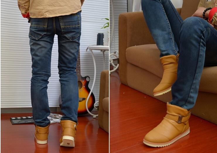 Новый мужской моды Зима Мартин тепловой хлопок мягкие туфли ботинки снега сапоги мода кроссовки плоские туфли