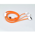 Brand New 3 in 1 Mobile Phone Charger Cable Flat Micro USB Cable for iPhone 4