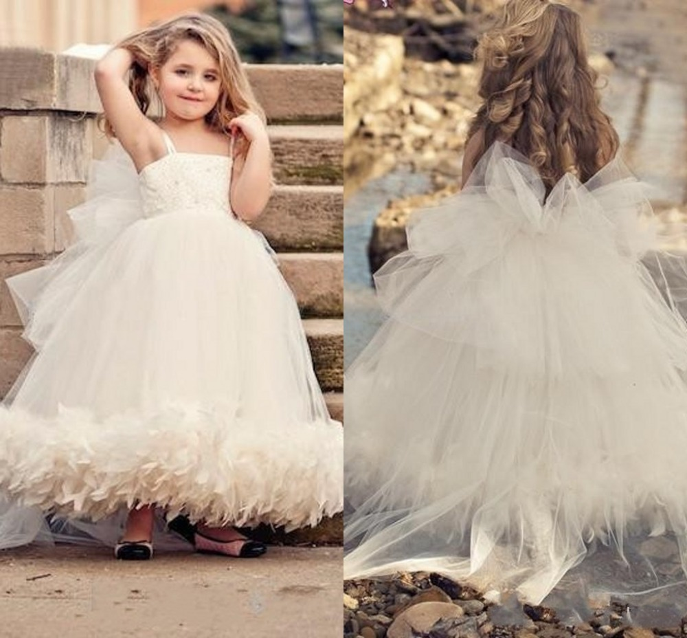 Fast delivery Custom Made Fancy Girls Puffy Dresses Evening Gowns Children Flower Girls Dress White Spaghetti Strap Organza(China (Mainland))