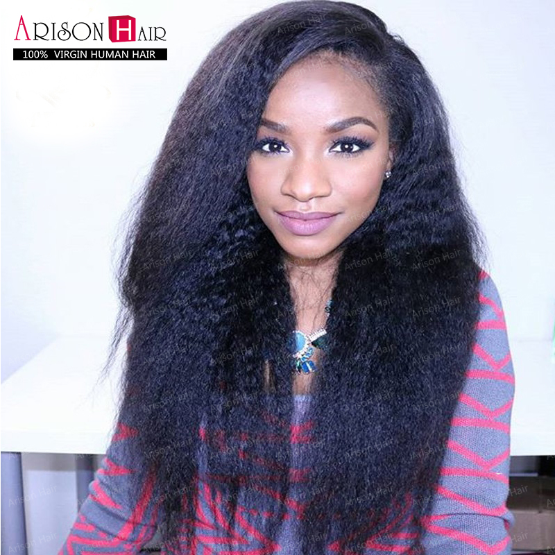 best Wig kinky straight African American Full Lace Human Hair Wigs Best Glueless Brazilian Virgin Kinky Straight Lace Front Wigs(China (Mainland))