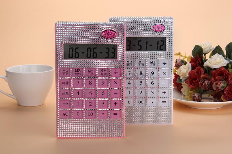 Kawaii Top Fashion Cute Calculator With Rhinestones Fashion Diamond & Music Transparent Bottom As Girl Gift Hotsell Freeshipping(China (Mainland))