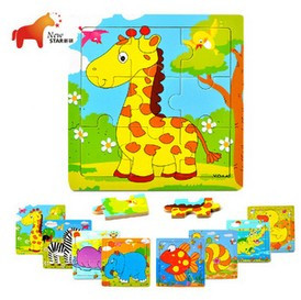 New Arrival Affordable Pine Wooden Children's Early Educational Toy Cartoon Jigsaw Puzzle 10 pieces/lot(China (Mainland))
