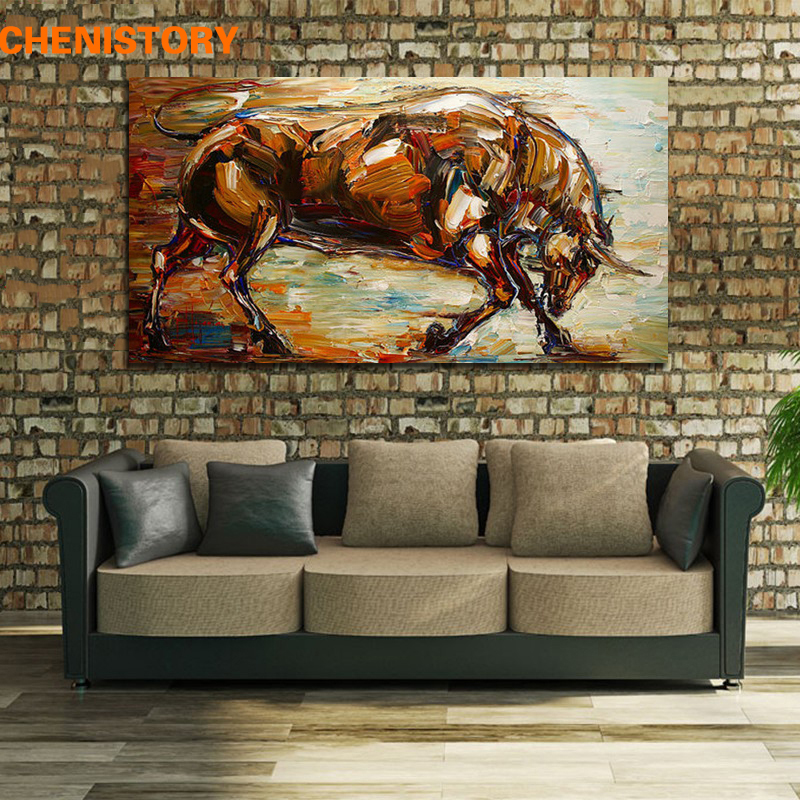 Unframed Abstract Strong Bull Oil Painting 100% Hand-Painted Wall Art Picture Room Decoration Handmade Painting Home Artwork(China (Mainland))
