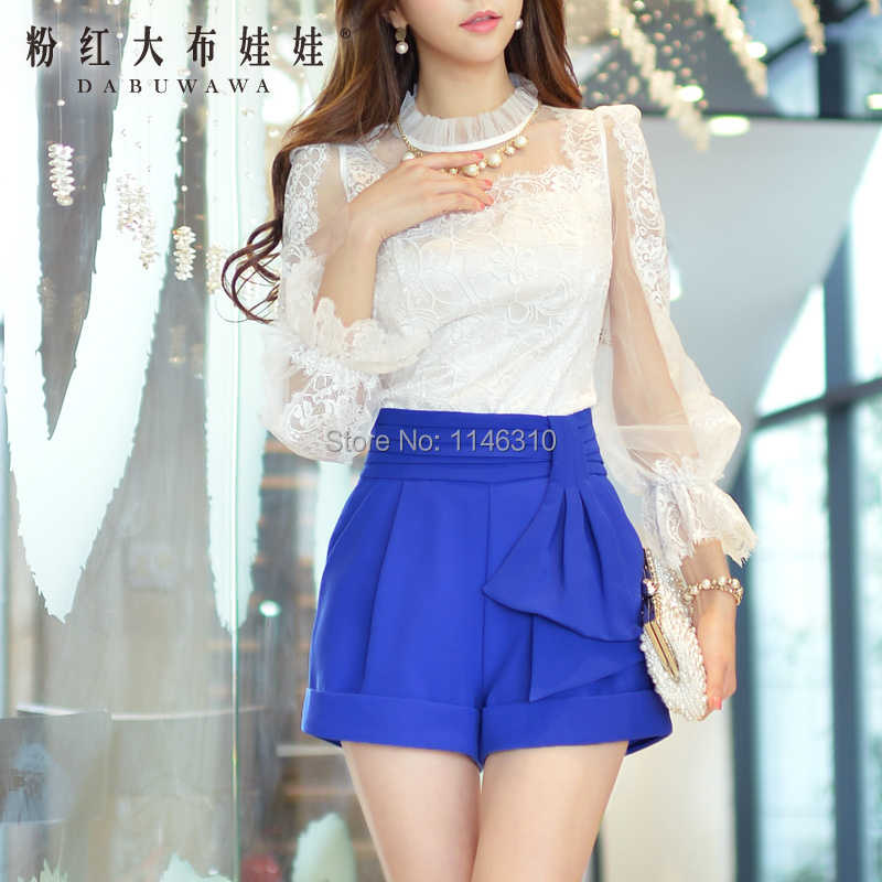 Casual pants female Pink Doll 2015 new spring pants stereo decorative high waisted shorts