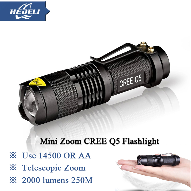 Mini torcia led Flashlight Zoom CREE Q5 LED 2000 LM Waterproof Lanterna Zoomable rechargeable torch light 14500 Flash light(China (Mainland))