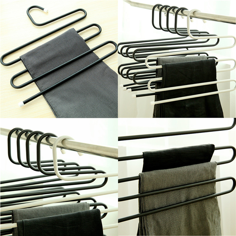 Magic Multifunction Practical Convenient 5 Layers Tie Towels Belt Trousers Pants Closet Hanger Racks(China (Mainland))