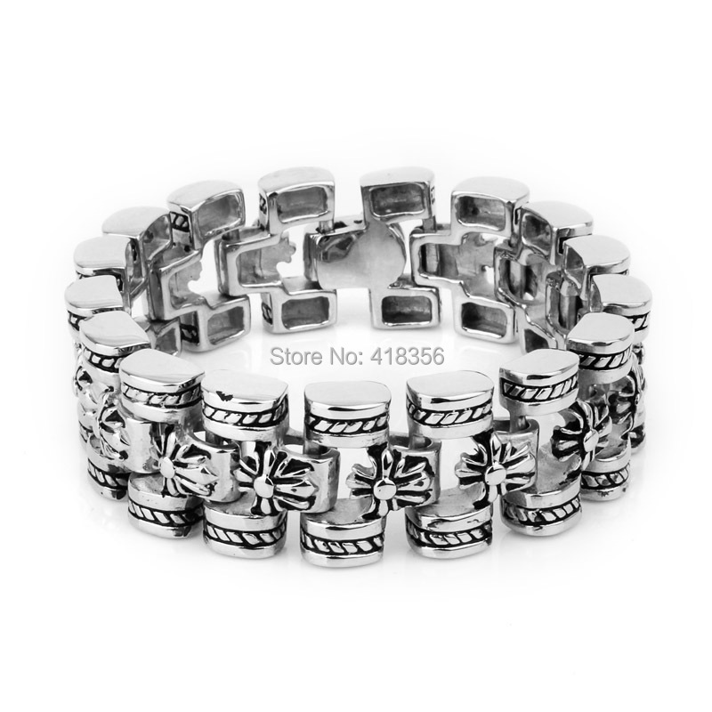 best gift Christmas flowers Link Chain Men's Bracelet Stainless Steel 17.5mm 8.5 inches - Gifts jewelry's store
