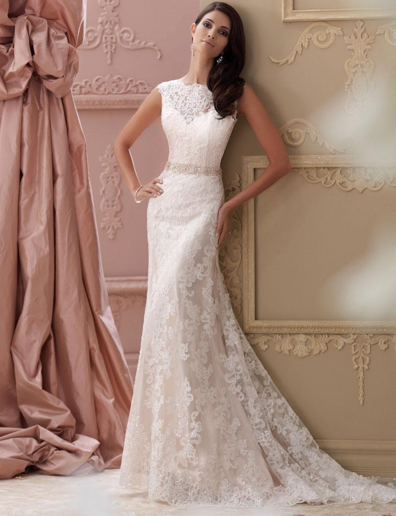 2016 Hot Sell Wedding Dress Chapel Train Lace Dress Unique Design Square Coll