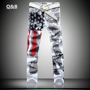2016 new jogging American flag painted jeans brand jeans men straight men's casual pants men's denim trousers micro-bomb SIZE 46