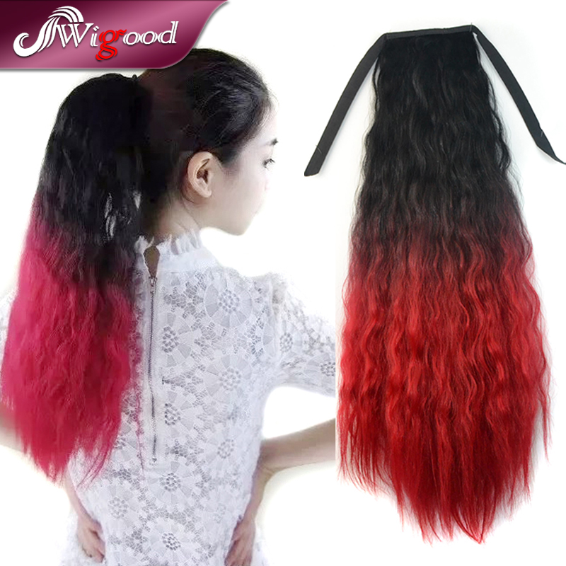 Synthetic Ponytail 45CM 110g Long Curly Drawstring Ponytails Hair Extension Pony Horse Tail Fake Hair Tress Hairpiece Wigood<br><br>Aliexpress