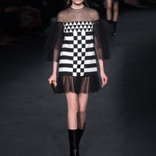 2016 European runway women's fashin gauze black and white plaid cascading perspective flounce chequered dress stitching