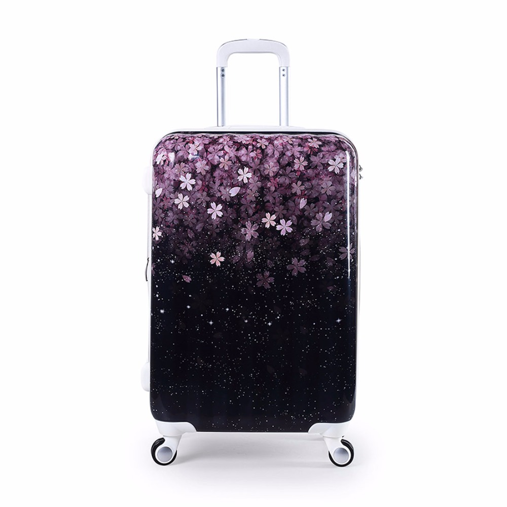 Womens Hard Shell Luggage Sakura Floral Valise Rolling Luggages Expandable Lightweight Suitcase 20/24/28 with TSA Lock for Girls(China (Mainland))