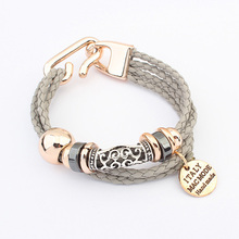 6 Colors New Fashion Punk Vintage Woven Metal Winding Braided Rope Letter Ribbon Chain Charm Bracelet &Bangle Women Jewelry D160(China (Mainland))