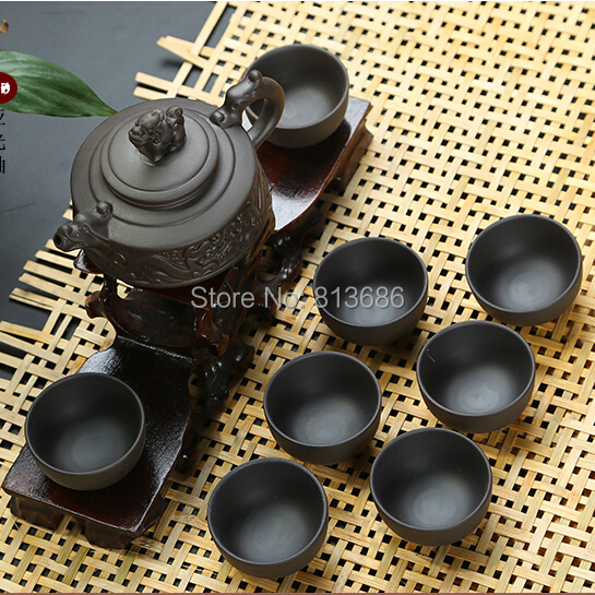 Traditional Yixing Tea Set Purple Grit Teapot Tea Cup Set Without Tea Tray