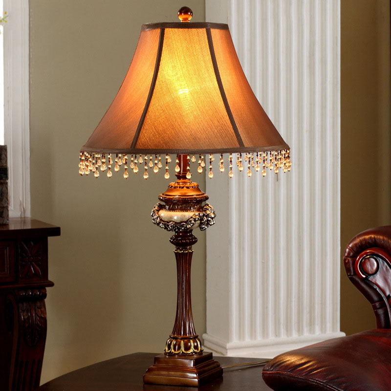 Brown fabric lampshade e27 table lamp luxurious ancient for Bedside decoration
