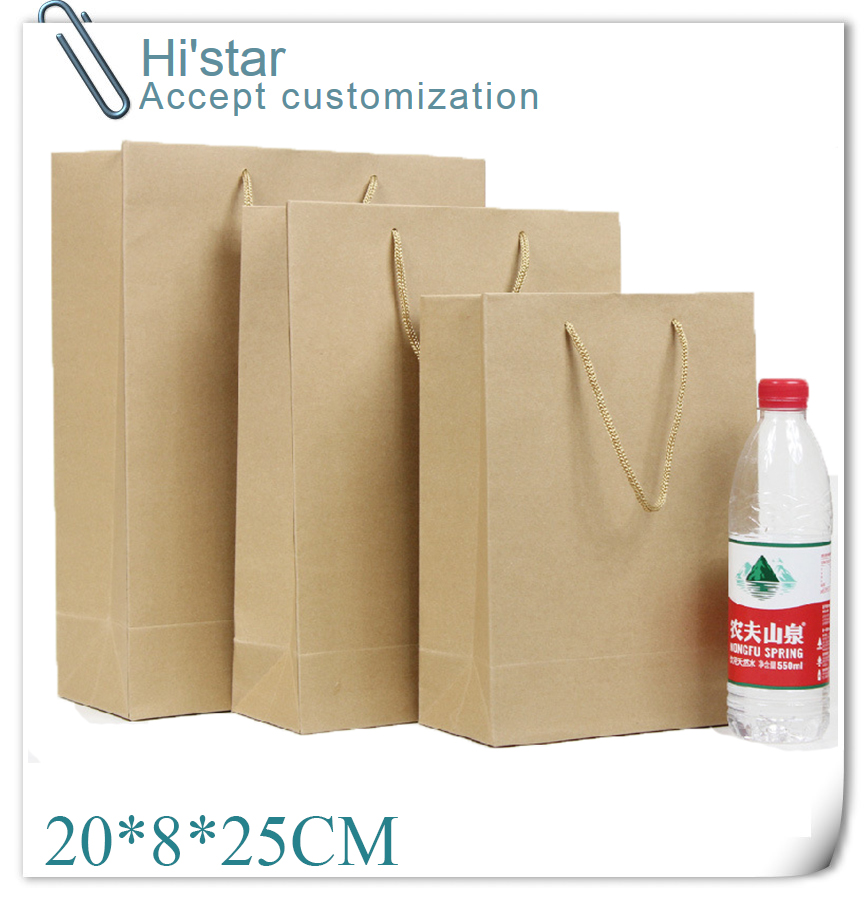 10*8*25CM 10pcs Elegant Paper gift bag, Small size, Kraft gift bags with handle, Wholesale accept customization(China (Mainland))