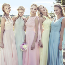 Criss-Cross Pastels Chiffon Party Bridesmaid Dresses