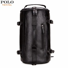 VICUNA POLO Personality Large Size Round Leather Mens Travel Bag Fashion Rolling Travel Backpack For Man Famous Brand Duffel Bag(China (Mainland))