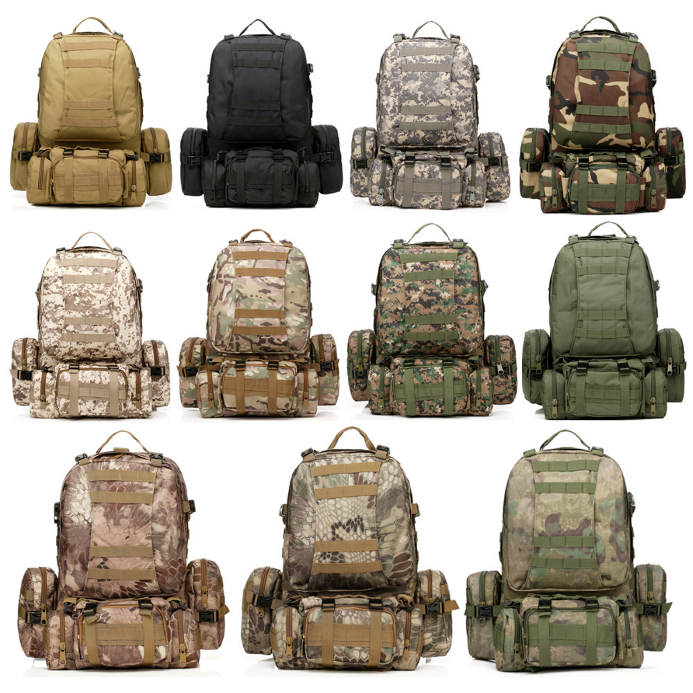 New 50L Molle Tactical Assault Military Rucksacks Backpack Camera Bag Large 11 Color Sports Bags Free Shipping(China (Mainland))
