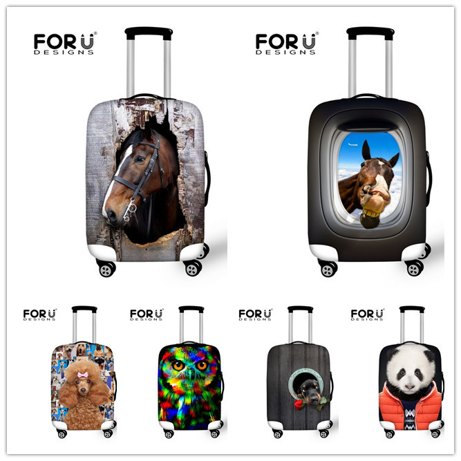 Elastic 3D  Print Luggage Protective Covers Crazy Horse Luggage Cover Animal Suitcase Protective Covers Waterproof Luggage Cover