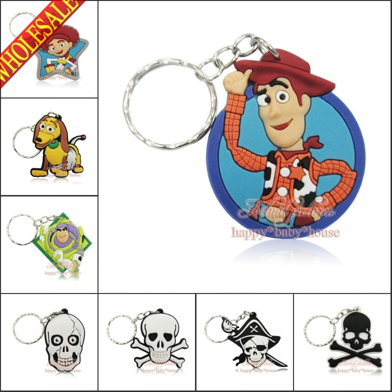 Mixed 40PCS Toy Story Skulls 2D PVC Cartoon Pendants Charms For Keychains Key Rings Necklace Cellphone Bags Accessories Gifts(China (Mainland))
