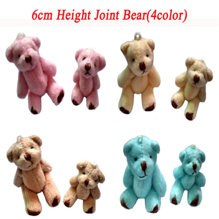 4color Mixed 100pcs 6cm Mini Joint Bear Bare Teddy Bear Doll Cell/Phone/Bag/Bouquet Pendant Cartoon Plush Stuffed Toy Doll(China (Mainland))