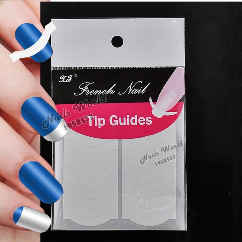2 Packs White French Nails Art Tips Tape Manicure Sticker Guide Stencil Charming DIY W11(China (Mainland))
