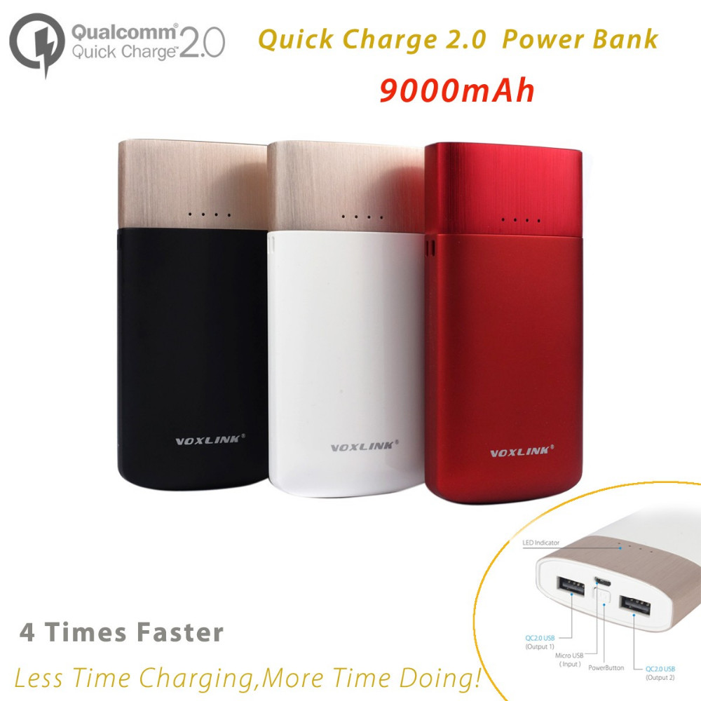 Quick Charge 2.0 Dual USB Port Power Bank 9000mah,Portable External  Battery Pack Powerbank 5V/2.5A,9V/1.7A,12V/1.2A