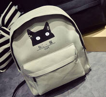 Cute Cartoon Japanese Cat Printing Backpack Women Canvas Backpack School Bags For Teenager Girls College Style Casual Backpack(China (Mainland))