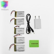 5pcs 3.7v 1200Mah Li-po battery with x5 charger and USB charger for Syma X5SW X5SC M18 H5P drone RC Quadcopter