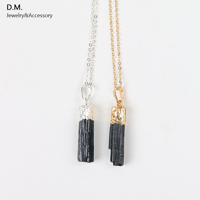 New Design Gold Silver Dipped Black Tourmaline Pendant Necklace Raw Stone Schorl Chakra Healing Crystal Point Pendant Colar(China (Mainland))