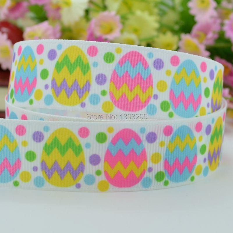 "Free shipping 7/8"" 22mm Easter egg chevron dots Printed grosgrain ribbon hairbow DIY handmade wholesale OEM 50YD(China (Mainland))"